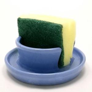 Ceramic Sponge Holder Light Blue Handmade Pottery